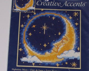 Vintage 1997 Creative Accents Needlepoint Kit Nighttime Moon New Dimensions #7937 4176