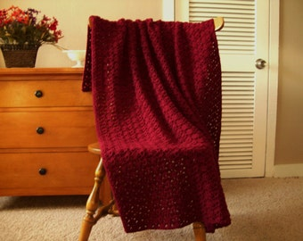 "Claret Red Hand Crochet Throw Blanket Afghan, 54""x39"" Solid color, lap couch bed throw adult More colors @ CozyHomeCrochet"