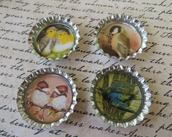 Birds And Nests IV Bottle Caps Magnets Or Pin Set