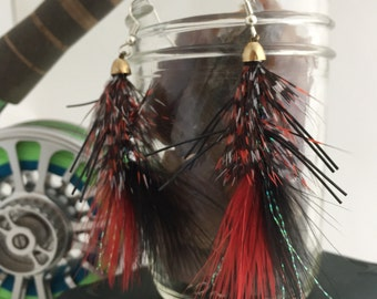 Red & Black fly girl fashion earrings
