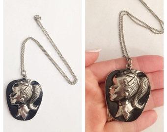 50s Schoolgirl Pendant Necklace- Retro Pinup Jewelry, Barbie Black & Silver Cute