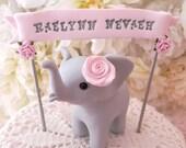 Elephant Baby Shower Cake Topper, Gray and Blush Pink,Baby Girl Shower, Custom Name Banner, New Mommy Gift, Keepsake, Nursery Decor