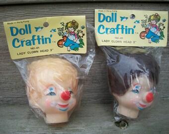"Packaged Mangelsens ""Doll Craftin"" Clown Head With Hair"