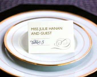 """Elegant Dinner Placecards, Navy Blue and Gold, Modern Wedding Placecards, Party - """"Modern Swirl and Flourish"""" Tented Placecard v3 - DEPOSIT"""