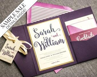 purple wedding invitations purple and gold invitations glitter pocketfold invite ombre invitations - Wedding Invitations Purple