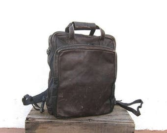 15% Off Out of Town Sale 90s Distressed Chocolate  Brown Leather Backpack Modernist Minimalist Travel Laptop Bag