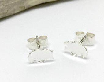 Hedgehog silhouette sterling silver stud earrings.