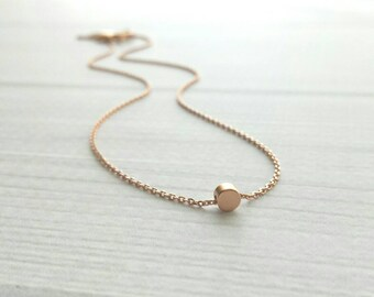 Dot Necklace - rose gold tiny little simple round slider charm / pendant - fine delicate rose gold chain - minimalist circle petite jewelry