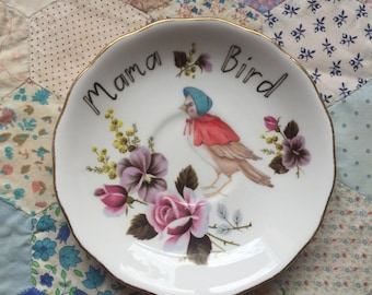 Mama Bird with Floral Illustrated Vintage Plate