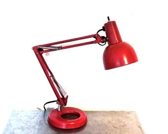 vintage red desk lamp - 1940s-50s mid century industrial gooseneck metal lamp