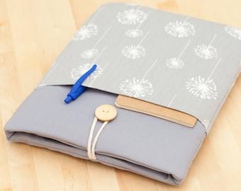iPad Pro 12.9 sleeve, iPad Pro 12.9 cover, 12.9 inch iPad Pro case,  iPad Pro cover - Grey dandelion