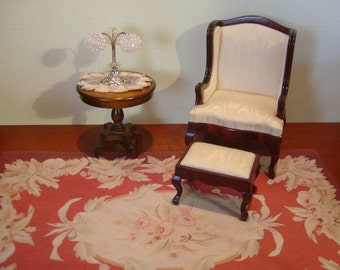 Dollhouse Aubusson Rug Red Ivory Pink 1:12 scale