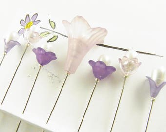 Fancy Sewing Pins Lavender Trumpet with Flowers