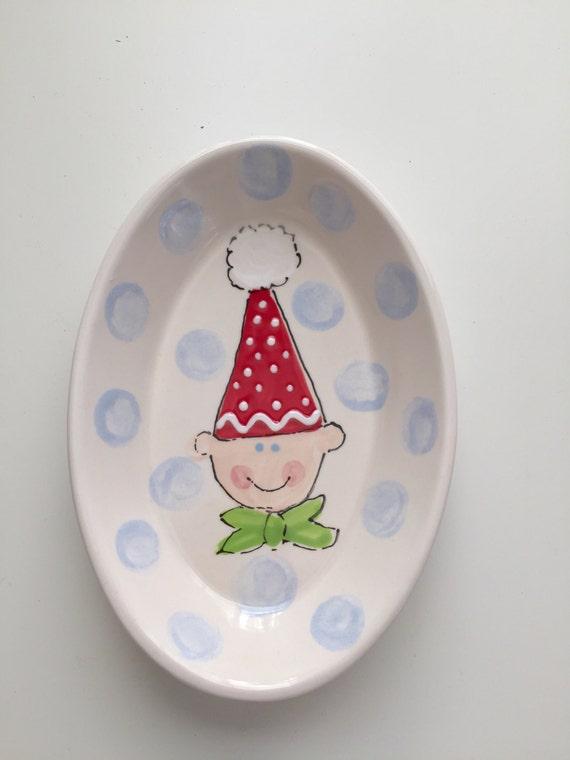 Christmas elf candy dish, Elf Trinket tray,  hand painted ceramic Christmas candy dish, Christmas candy dish, Christmas soap dish