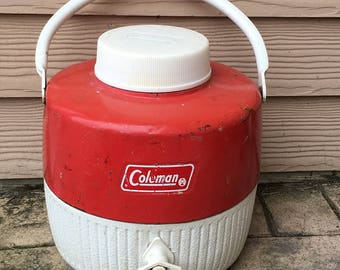 Coleman Hot/ Cold Thermos Canteen Red 1960's