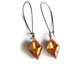 SALE Gift Yellow topaz earrings Art Deco earrings Golden topaz Art Deco jewelry November birthstone Bridesmaid earrings Dangle earrings
