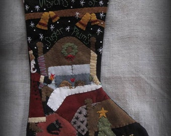 Visions of Sugar Plums Stocking PRINTED PATTERN by cheswickcompany