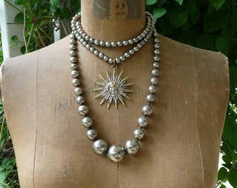 Vintage Silver Steel Bead & French Sun Necklace, by RusticGypsyCreations