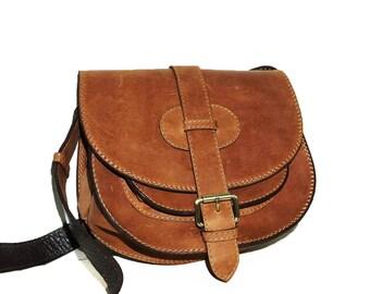 Rustic Leather Saddle Bag // Cross body bag // Messenger Goldmann S in vintage tan