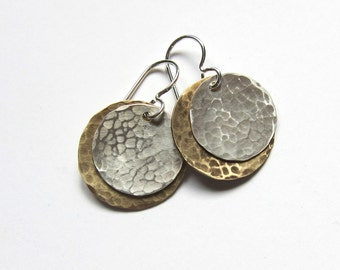 Hammered silver and gold disc earrings Antiqued sterling silver / brass dangles Lightweight everyday drops Minimalist artisan jewelry