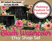 Black Watercolor Etsy Shop Set - Watercolor Shop Banner - Watercolor Flowers - Floral Etsy Banner - Etsy Banner Set - DIY Etsy Shop Set