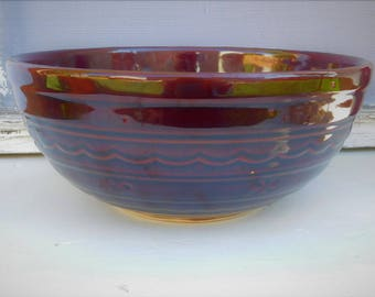 Marcrest Brown Stoneware-Daisy and Dot-Vintage Brown bowl-Large Mixing Bowl-Oven proof bowl-50s-Kitchen pottery