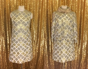 1960s Metallic Party Dress // Vintage Dress and Fur Jacket // Alternative Wedding Dress // Silver and Gold Sheath Dress // Party Dress