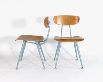 Vintage Industrial/Mid Century Modern Plywood School Chair (Adult Sized) Set of 2
