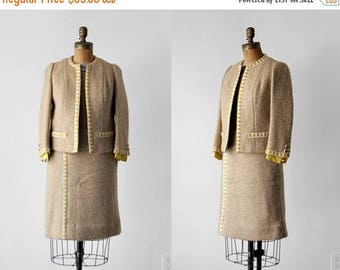 25% OFF 60's tweed suit. tan. 1960's yellow suit. jacket & skirt set. wool. pencil. cream. 1960 small.