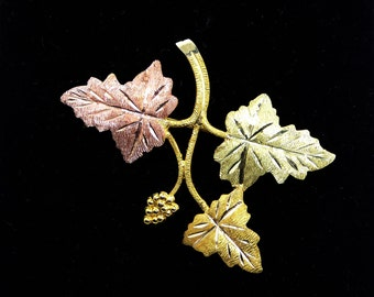 10K Gold Leaves Pin - Tri Colored Gold Grape Leaves Branch - Rose Gold Leaf - Signed L 10K - Landstrom Black Hills Gold