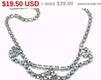 Vintage Rhinestone Necklace - Brides Wedding Jewelry - Prom Necklace - Formal Jewellery