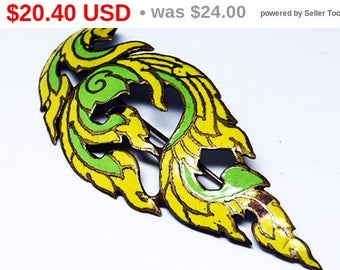 Spring Sale Enamel Yellow & Green Flame Brooch - 1920's 1930's Art Deco Asian Style Vintage Pin - Vintage Jewelry