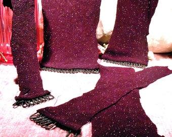 Vintage Fabric Beaded Trim Remnant Lot Glitz Pieces  Birgimdu