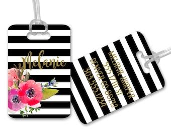 Watercolor Poppies Stripe Personalized Monogrammed Bag Luggage Tag Ladies Bag Heavy Duty Bag Tag Custom Personalized Diaper Heavy Duty Tag