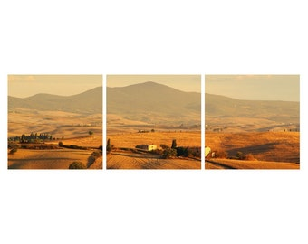 """TRIPTYCH Fine Art Color Photography of Tuscany Landscape - """"Val d'Orcia Under the Tuscan Sun"""""""