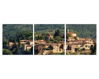 """TRIPTYCH Fine Art Color Photography of Tuscany Landscape and Hill Town - """"Chianti Hill Town"""""""