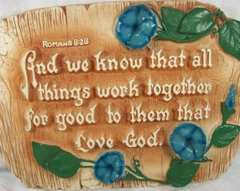 Vintage Beautiful Chalkware Christian Religious Plaque Romans 8:28 Larsen Dated 1940