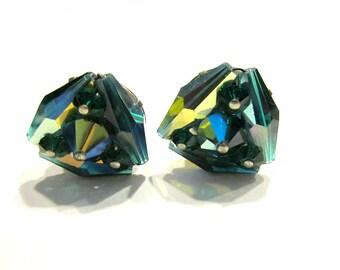 Vintage Green Glass Vintage Earrings Green Silver Clip Earrings Under 15 Jewelry Gift Idea For Her