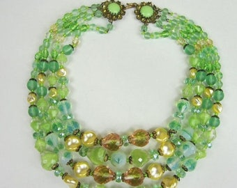 On Sale Vintage Glass Pre WW11 4 Strand Layered Green Blue Necklace Choker Germany