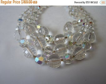 On Sale 1960s Necklace/  3 strand layered vintage / Aurora Borealis Glass bead Necklace