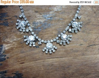 On Sale 1960s Rhinestone Necklace- Flower R/S Necklace-