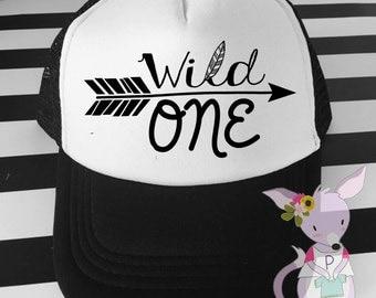 Kids Trucker Hat Wild One Hipster hat with Aztec Arrow hipster kids surfer hat baseball hat wild one Boy Kids birthday hat Birthday