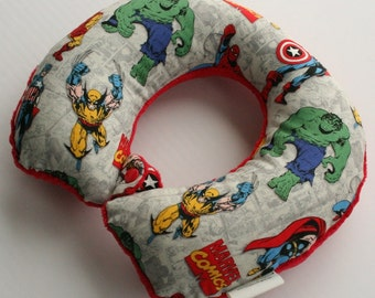 Child Travel Neck Pillow - The Avengers w/ Red Minky