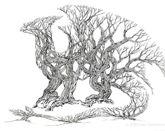 TreeDragon - ink illustration drawing of a dragon made of trees in a forest optical illusion art