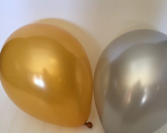 Gold and Silver Party Decor - Holiday Party Balloons - New year Balloons - New Year Party Decor -