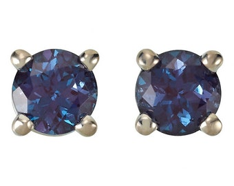 Natural Alexandrite Birthstone Earrings, Full Color Change, June Birthstone Earrings, Solid 14K White, Yellow, Rose Gold, Screw Back Setting