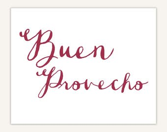 Spanish Art Print, Kitchen, Typography, Buen Provecho quote