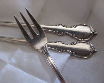 Seafood - Set of 3 Silver Plate Crab Seafood Cocktail Forks - Reflection Pattern