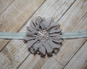 CLEARANCE/ Gray Chiffon Flower Headband/ Gray Baby Headband/ Girls Hair Accessories/ Baby Hair Accessories/ Sale Headband/ Gray Headband