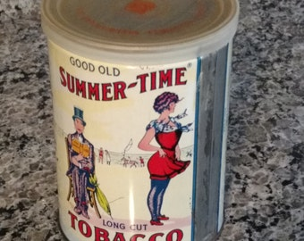 Vintage Good Old Summer-Time Long Cut Tobacco Empty Tin Retro Advertising